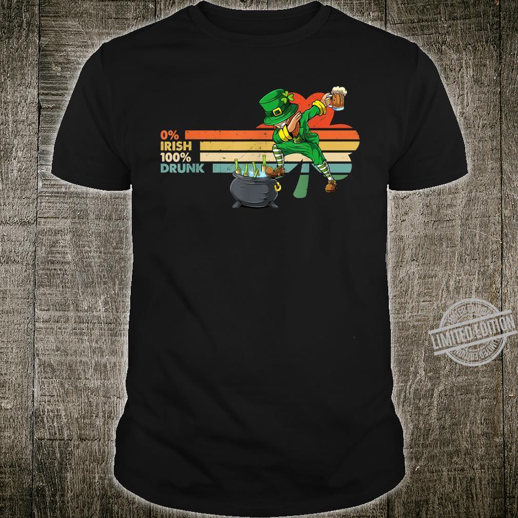 0% Irish 100% Drunk Dabbing Leprechaun Saint Patrick's Day Shirt