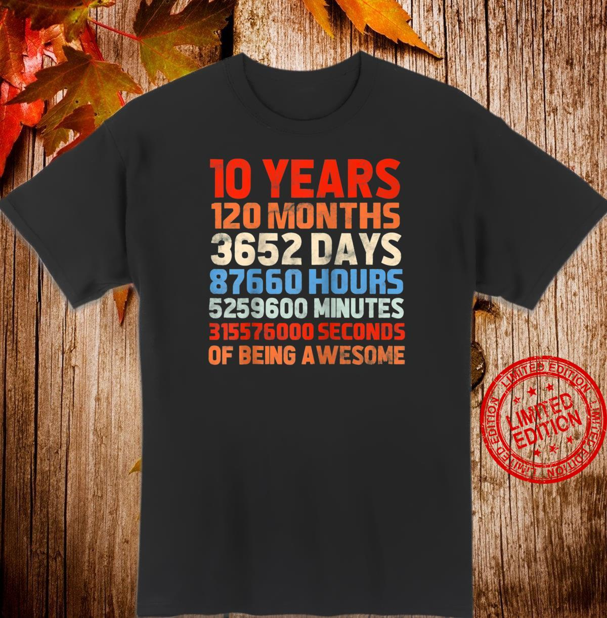 10 Years Old 120 Months Shirt Vintage Retro 10th Birthday Shirt