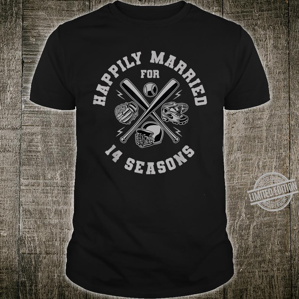 14th Wedding Anniversary 14 Years Baseball Couple Shirt