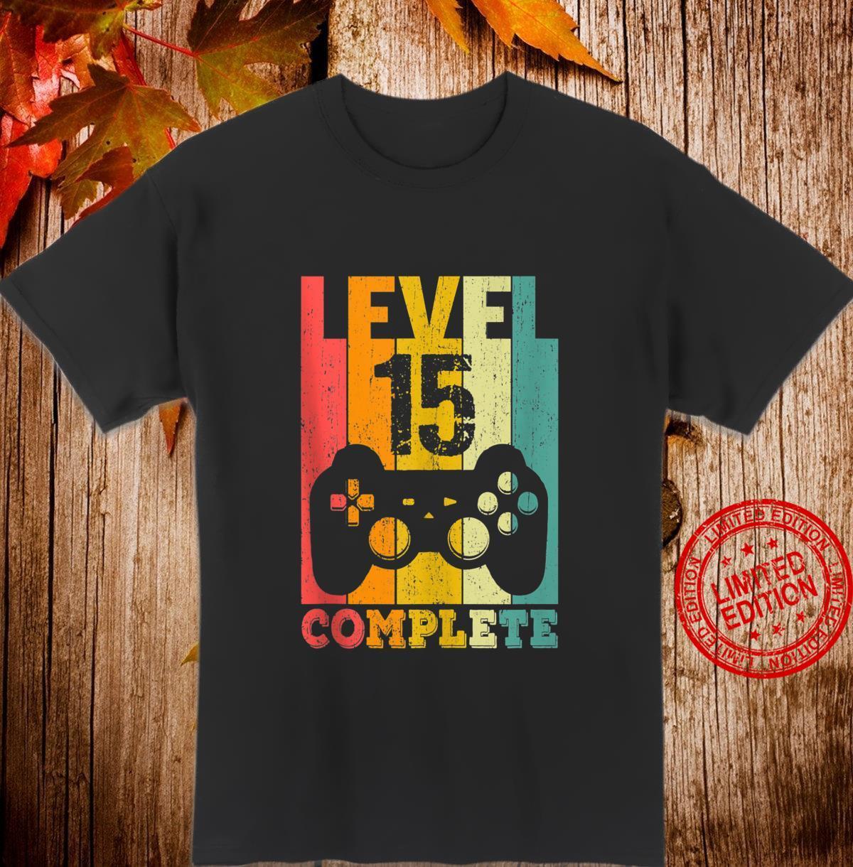 15th Birthday Boys Girls 15 Years Bday Level 15 Shirt