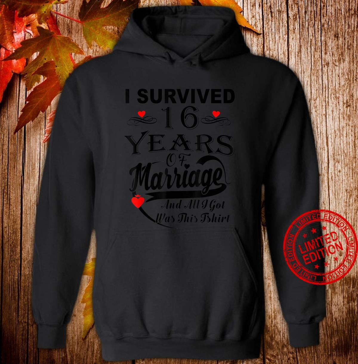 16th Wedding Anniversary Couple Shirt hoodie