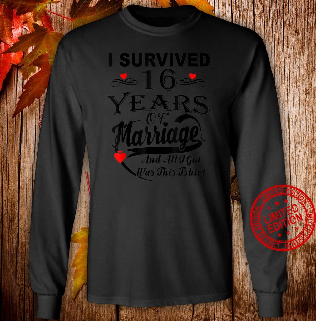 16th Wedding Anniversary Couple Shirt long sleeved