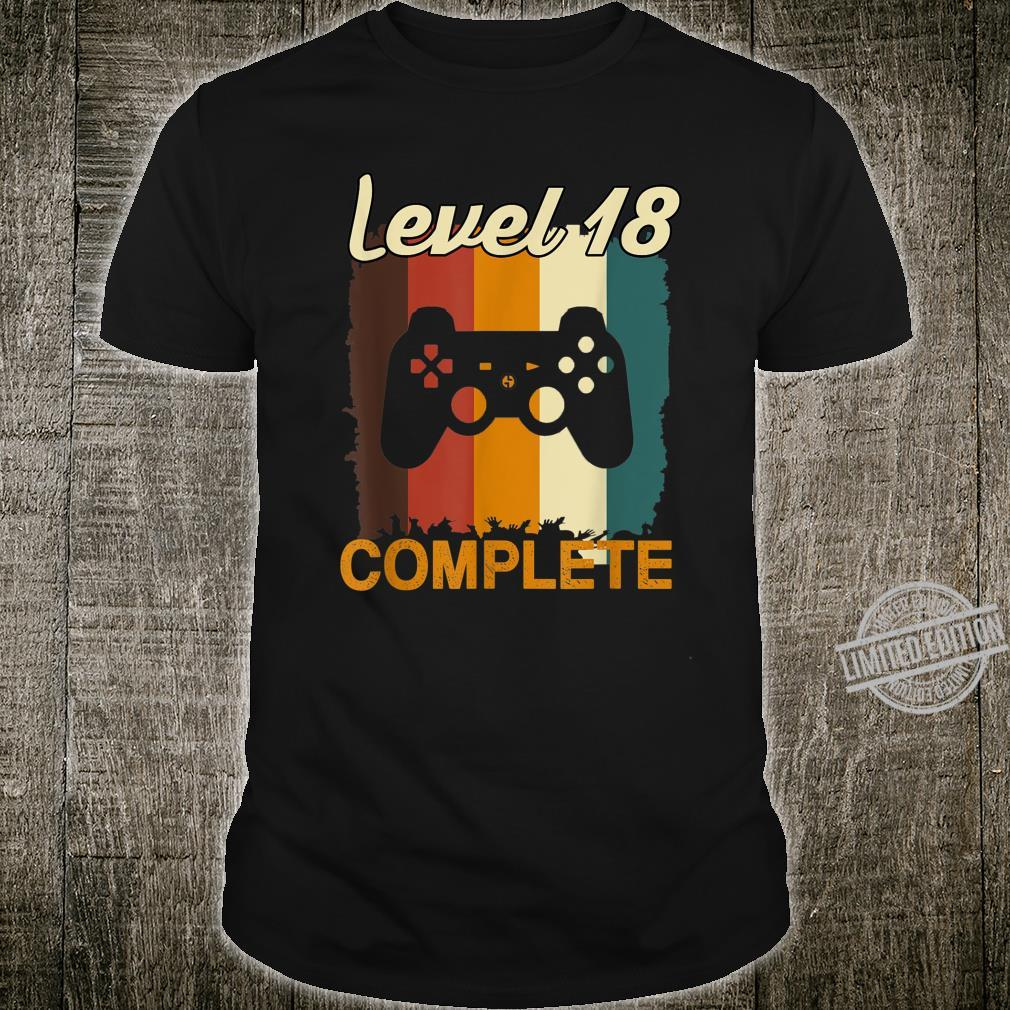 18th Birthday Vintage Retro Level 18 Completed Gamer Shirt