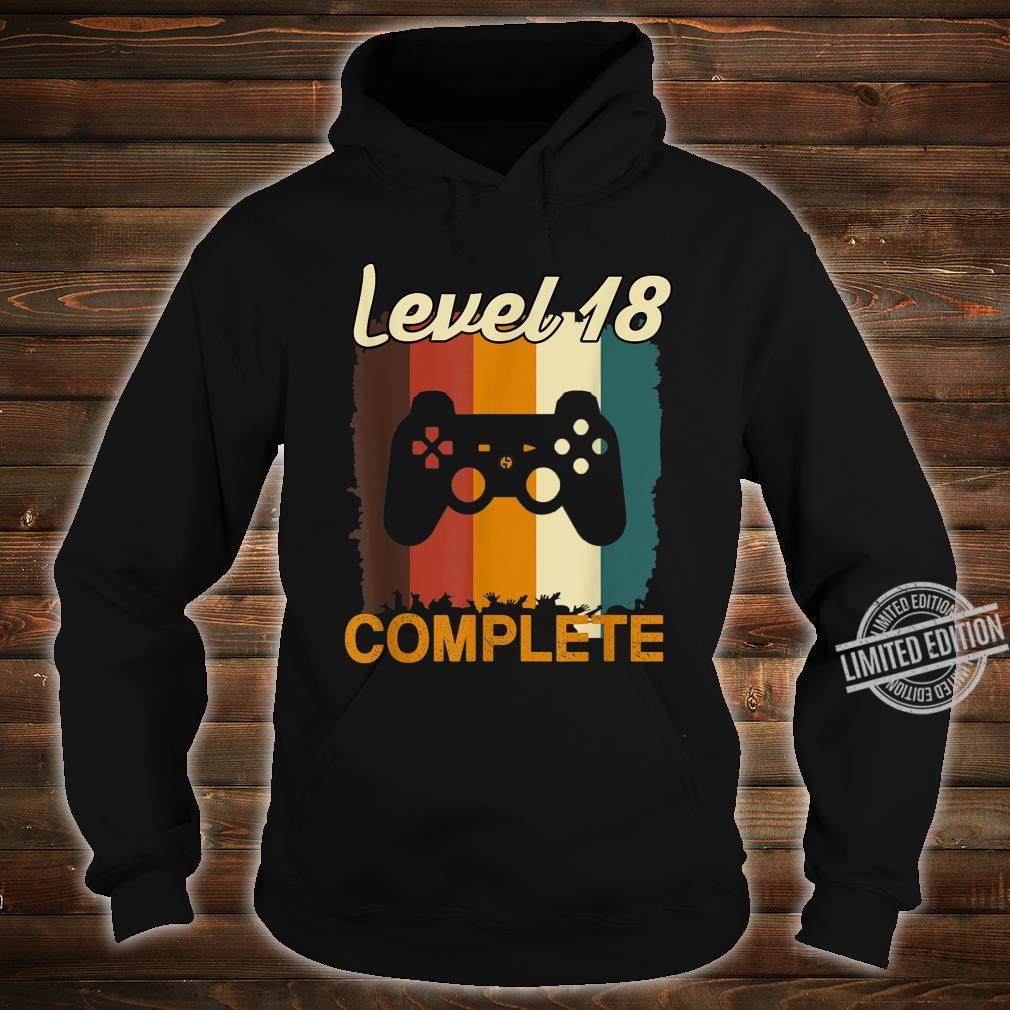 18th Birthday Vintage Retro Level 18 Completed Gamer Shirt hoodie