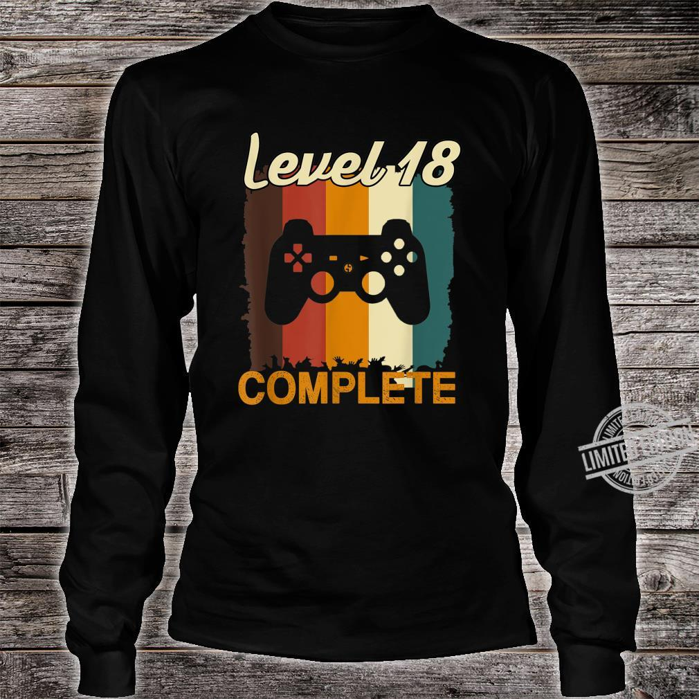 18th Birthday Vintage Retro Level 18 Completed Gamer Shirt long sleeved