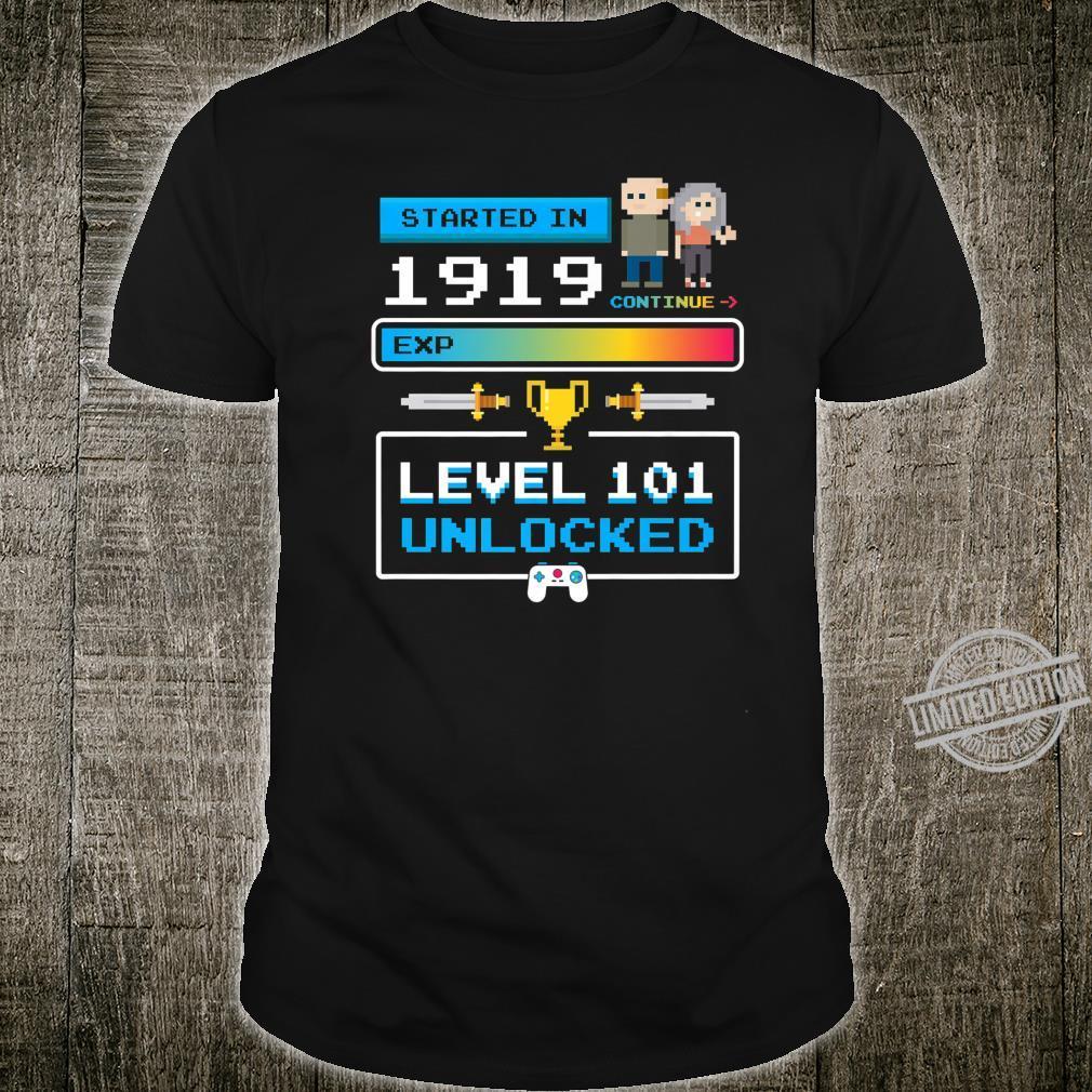 1919 101st Birthday Cute Level 101 Unlocked Video Games Shirt