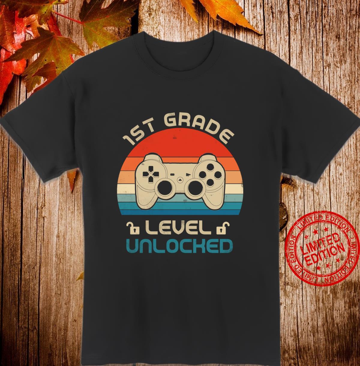1st Grade Level Unlocked Gamer First Day Of School Boys Shirt