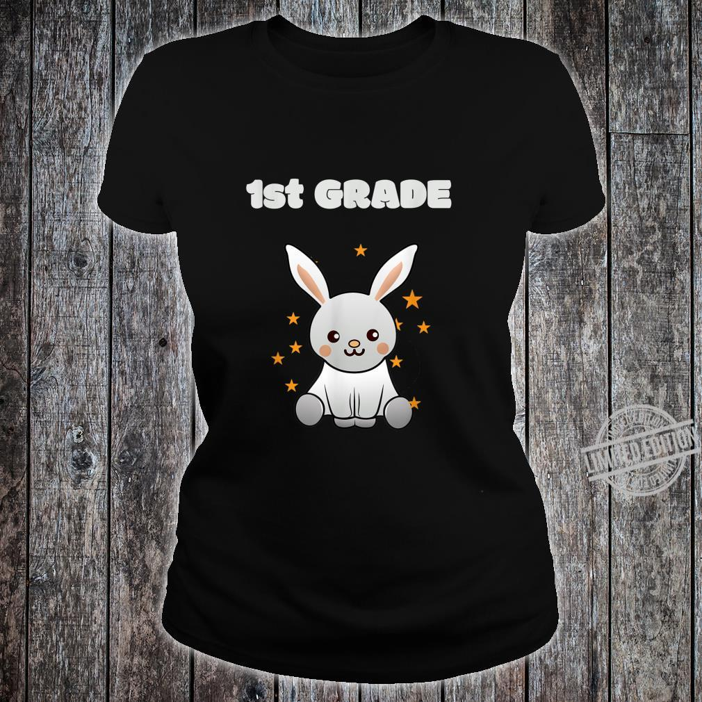 1st class back to school, schooling Bunny with Stars Shirt ladies tee