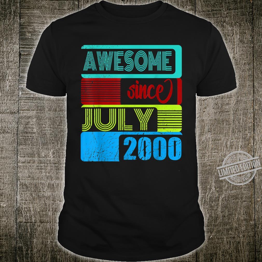 20. Geburtstag Awesome seit Juli 2000 Happy Birthday Shirt