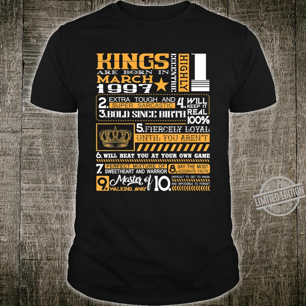 23rd Birthday Kings Born In March 1997 23 Years Old Shirt