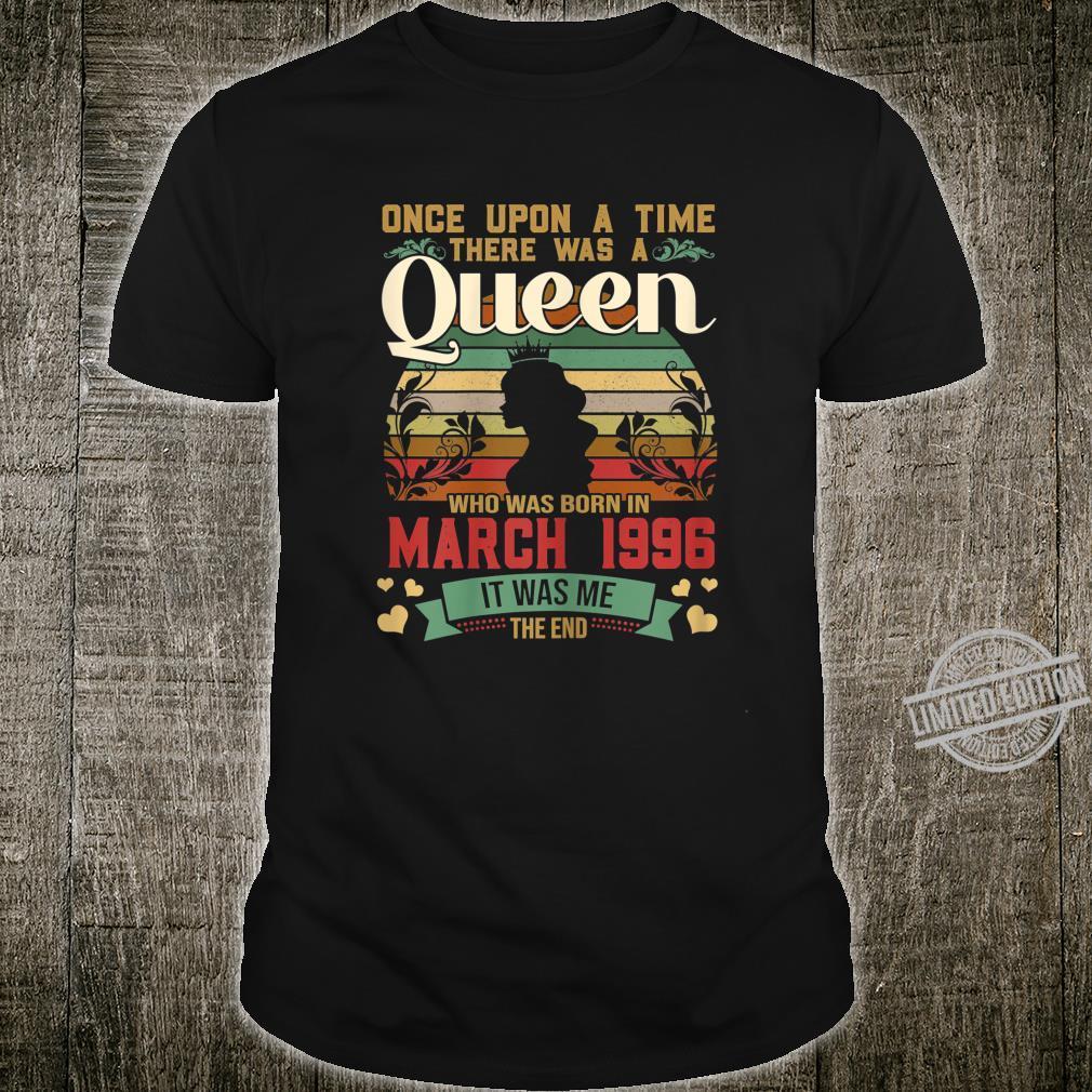 24 Year Old Birthday Girls 24th Birthday Queen March 1996 Shirt