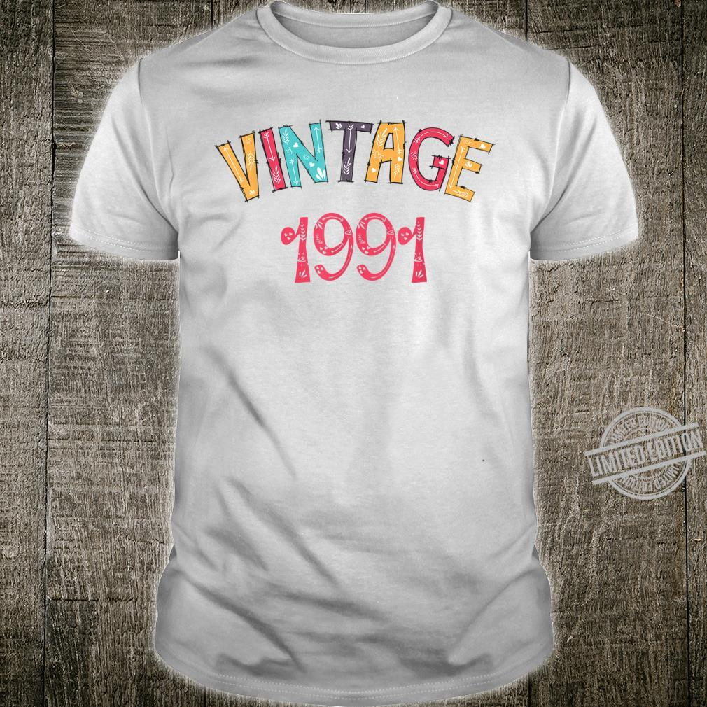 29th Birthday Gift Idea Vintage 1991 Distressed Shirt