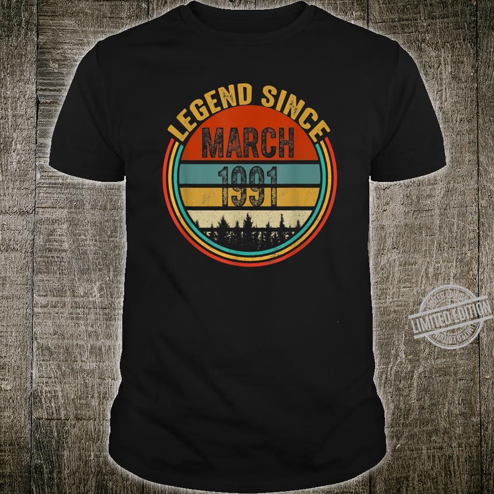 29th Birthday Vintage Legends Born In March 1991 Shirt