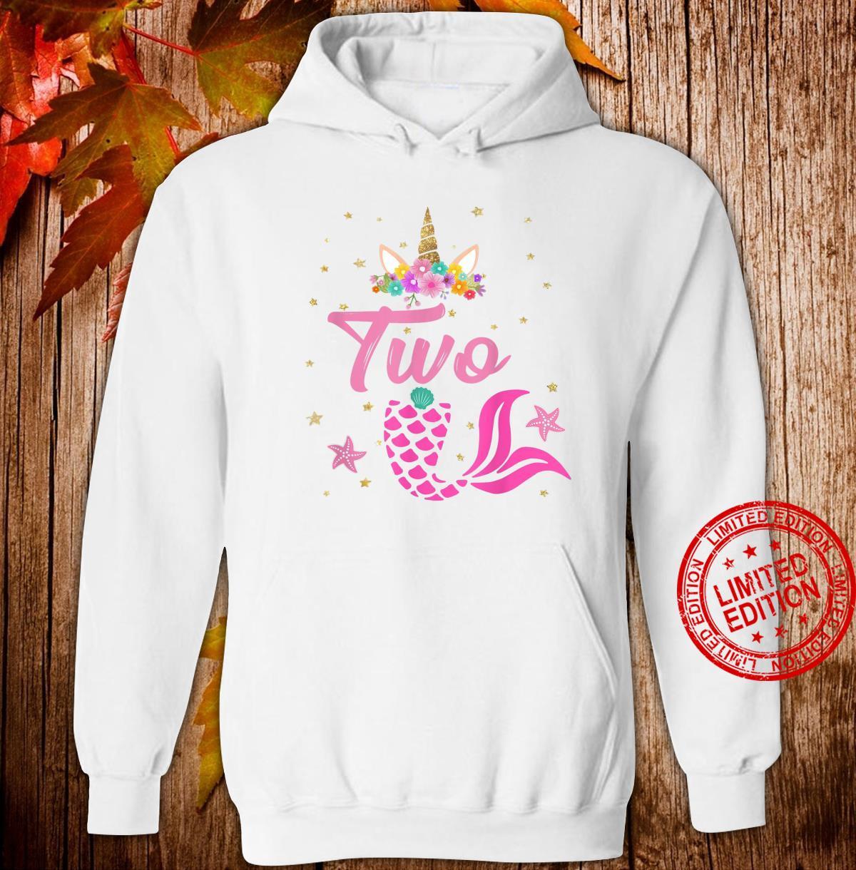 2nd Birthday Girl Unicorn Shirt Mermaid Tail 12 Years Old Shirt hoodie