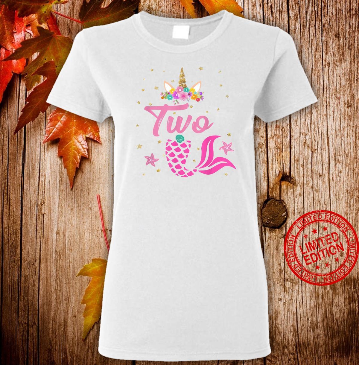 2nd Birthday Girl Unicorn Shirt Mermaid Tail 12 Years Old Shirt ladies tee