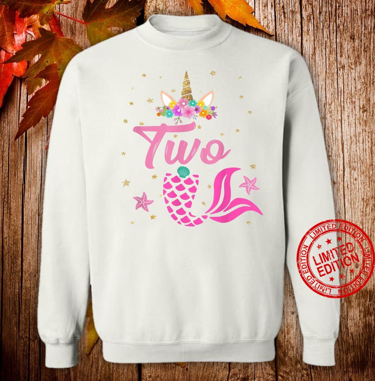 2nd Birthday Girl Unicorn Shirt Mermaid Tail 12 Years Old Shirt sweater