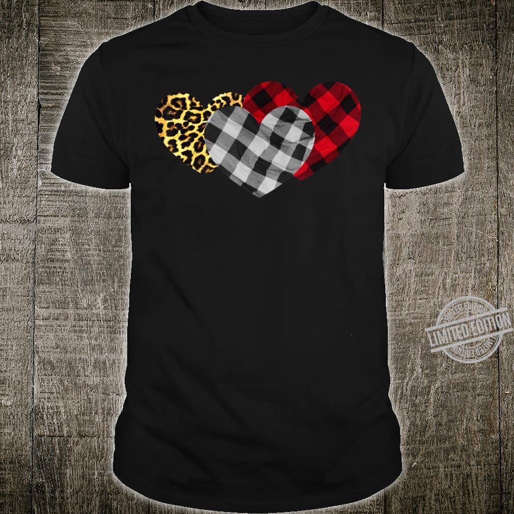 3 Hearts Leopard Buffalo Plaid Family Shirt