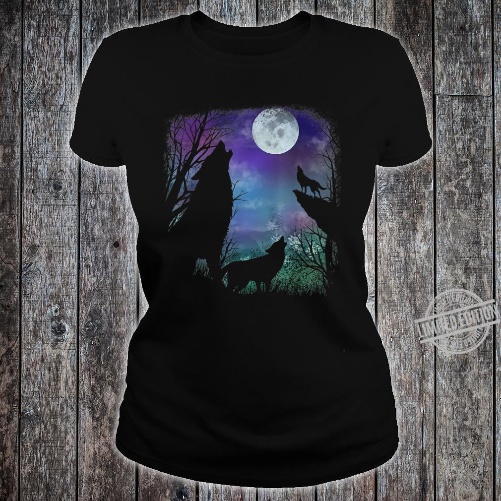 3 howling wolf in Full moon n Youth Shirt ladies tee