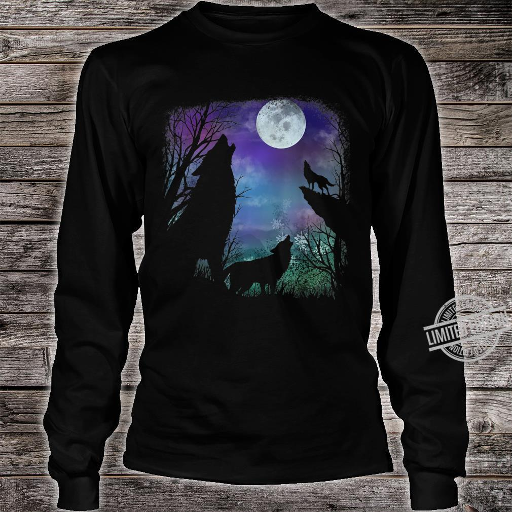 3 howling wolf in Full moon n Youth Shirt long sleeved