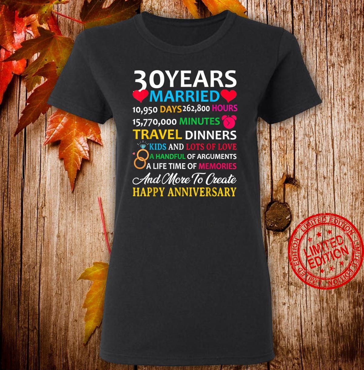30 Years Married Celebrating Happy Anniversary Shirt ladies tee