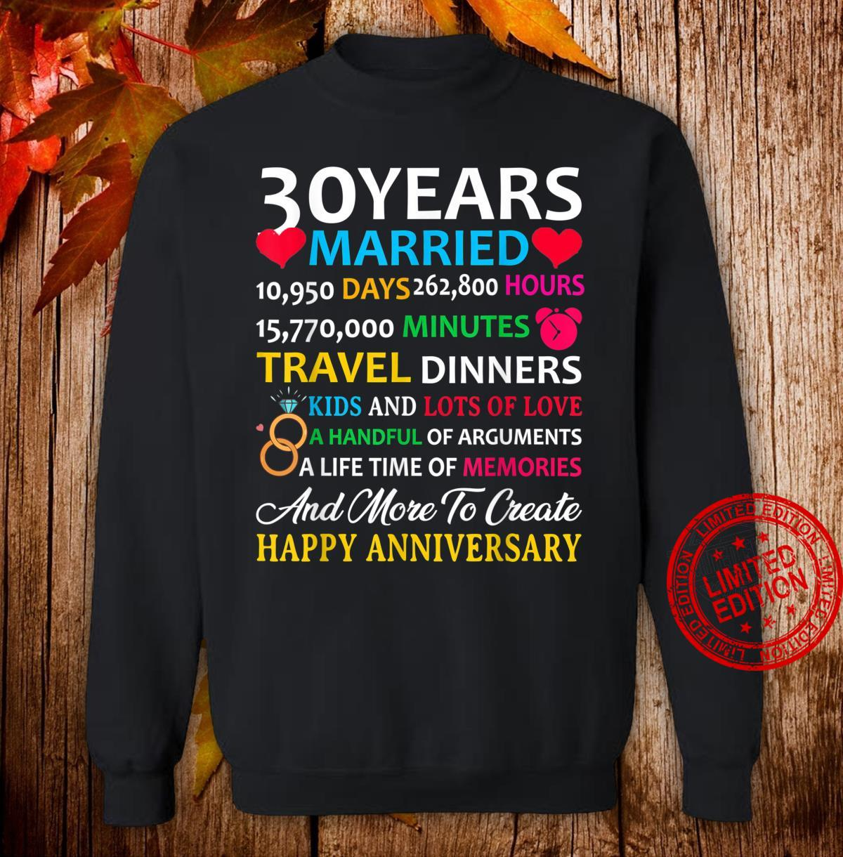 30 Years Married Celebrating Happy Anniversary Shirt sweater