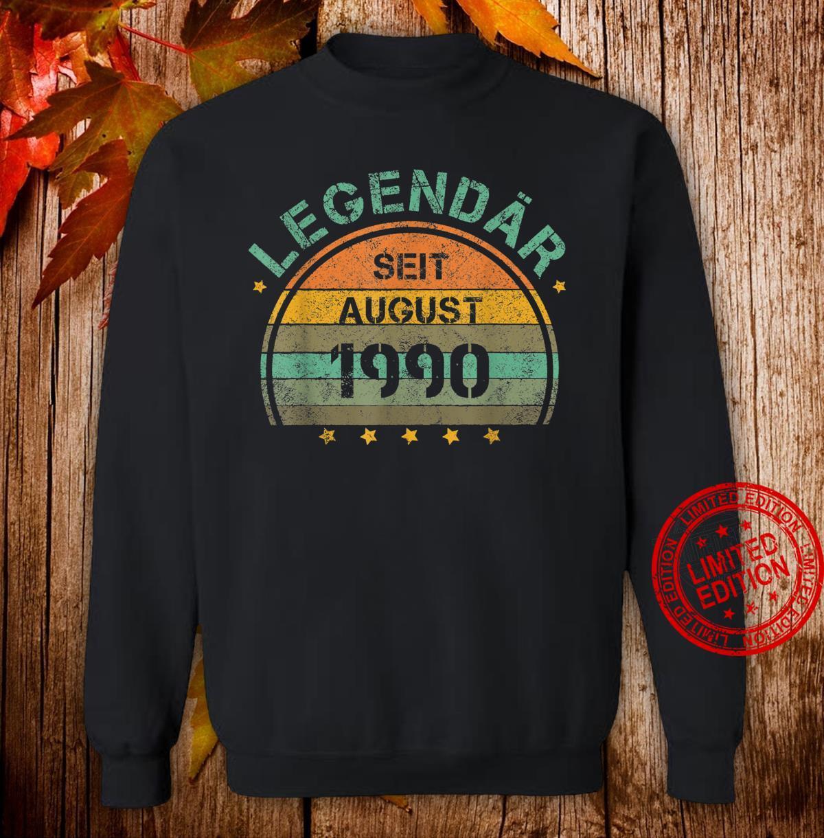 30. Geburtstag 30 Jahre Legendär August 1990 Shirt sweater