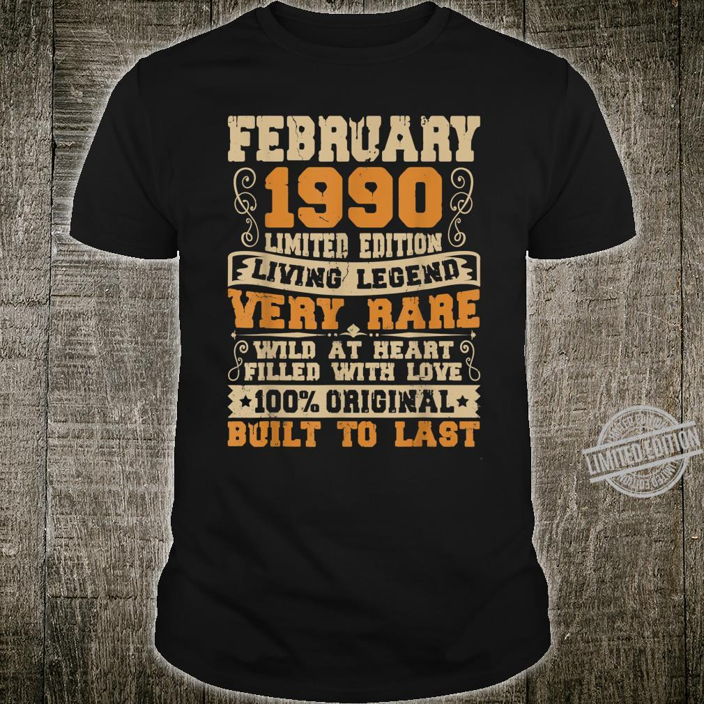 30th Birthday 30 Years Old Retro Vintage February 1990 Shirt