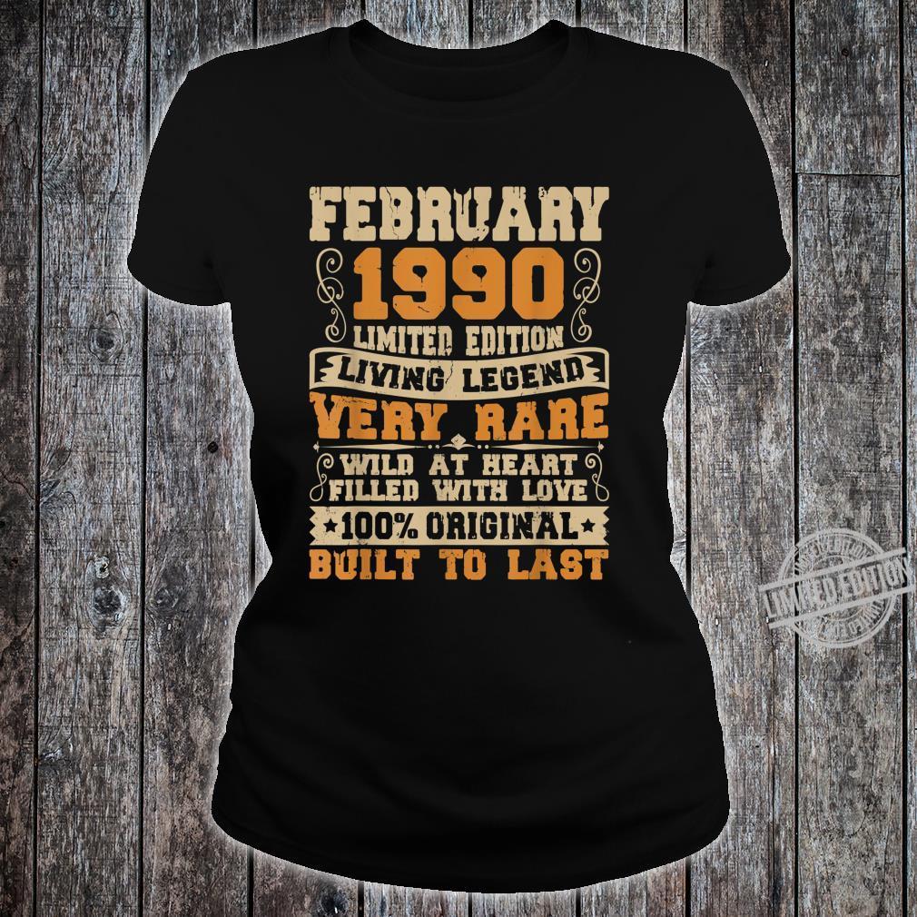 30th Birthday 30 Years Old Retro Vintage February 1990 Shirt ladies tee