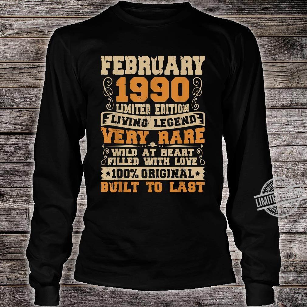 30th Birthday 30 Years Old Retro Vintage February 1990 Shirt long sleeved