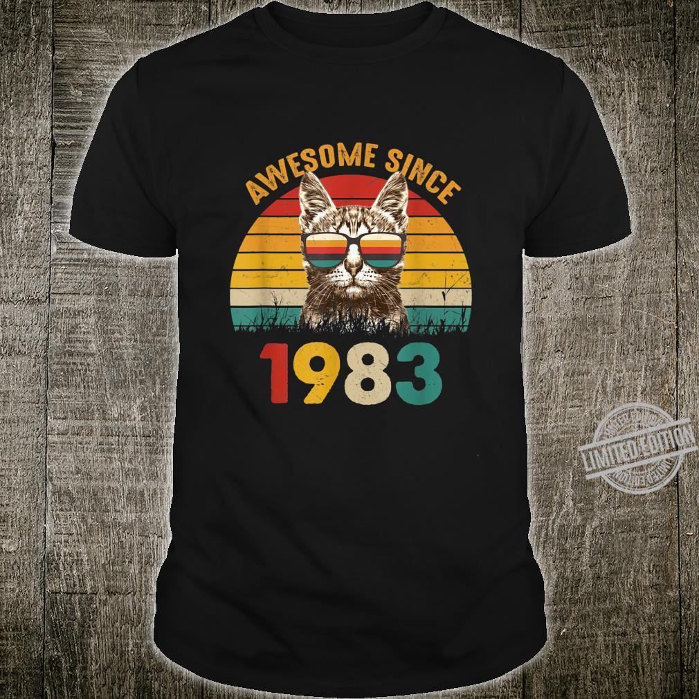 37. Geburtstag Vintage Cat Katze Awesome Since 1983 Geschenk Shirt