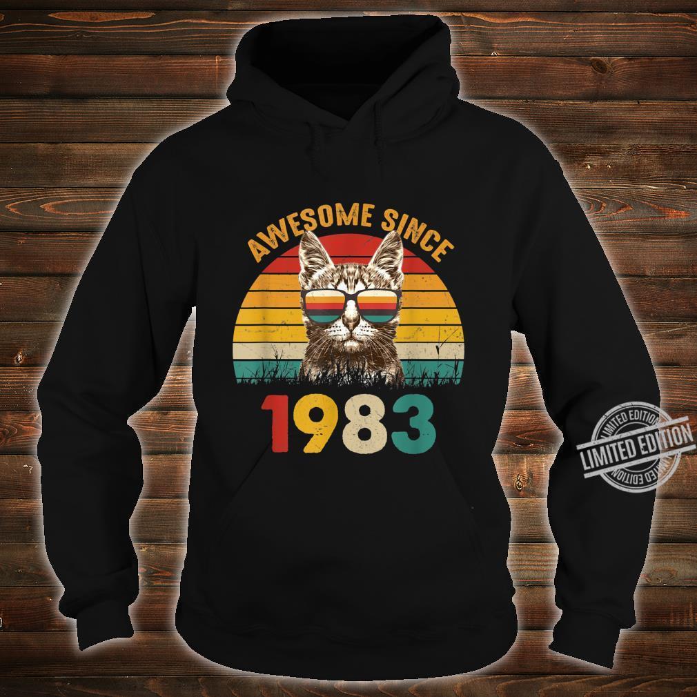 37. Geburtstag Vintage Cat Katze Awesome Since 1983 Geschenk Shirt hoodie