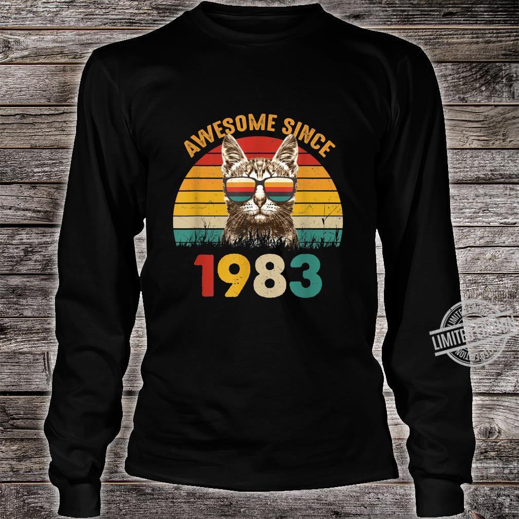 37. Geburtstag Vintage Cat Katze Awesome Since 1983 Geschenk Shirt long sleeved