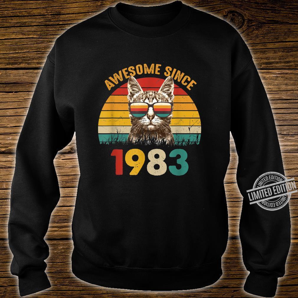 37. Geburtstag Vintage Cat Katze Awesome Since 1983 Geschenk Shirt sweater