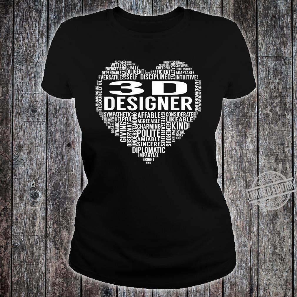 3D Designer Heart Shirt ladies tee