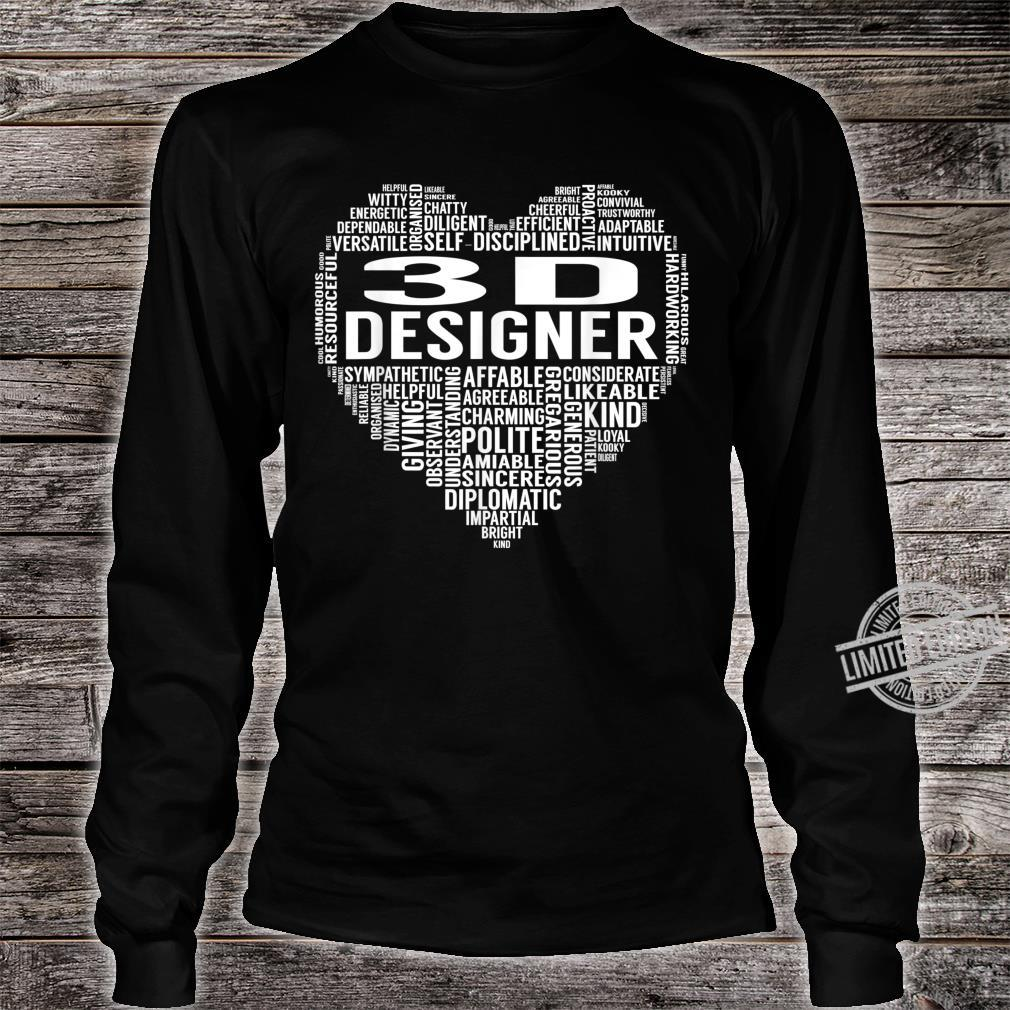 3D Designer Heart Shirt long sleeved