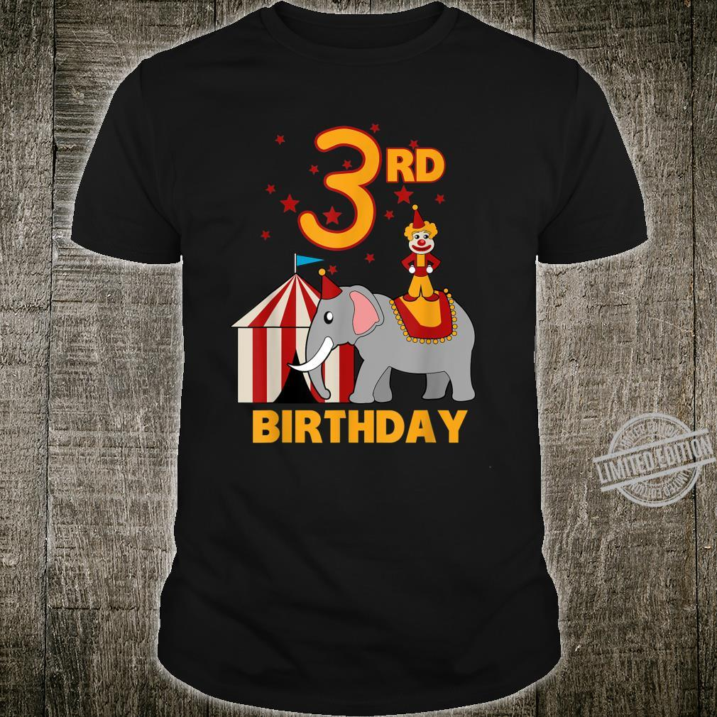 3rd Birthday Circus Toddler 3 Years Old Tent Clown Elephant Shirt