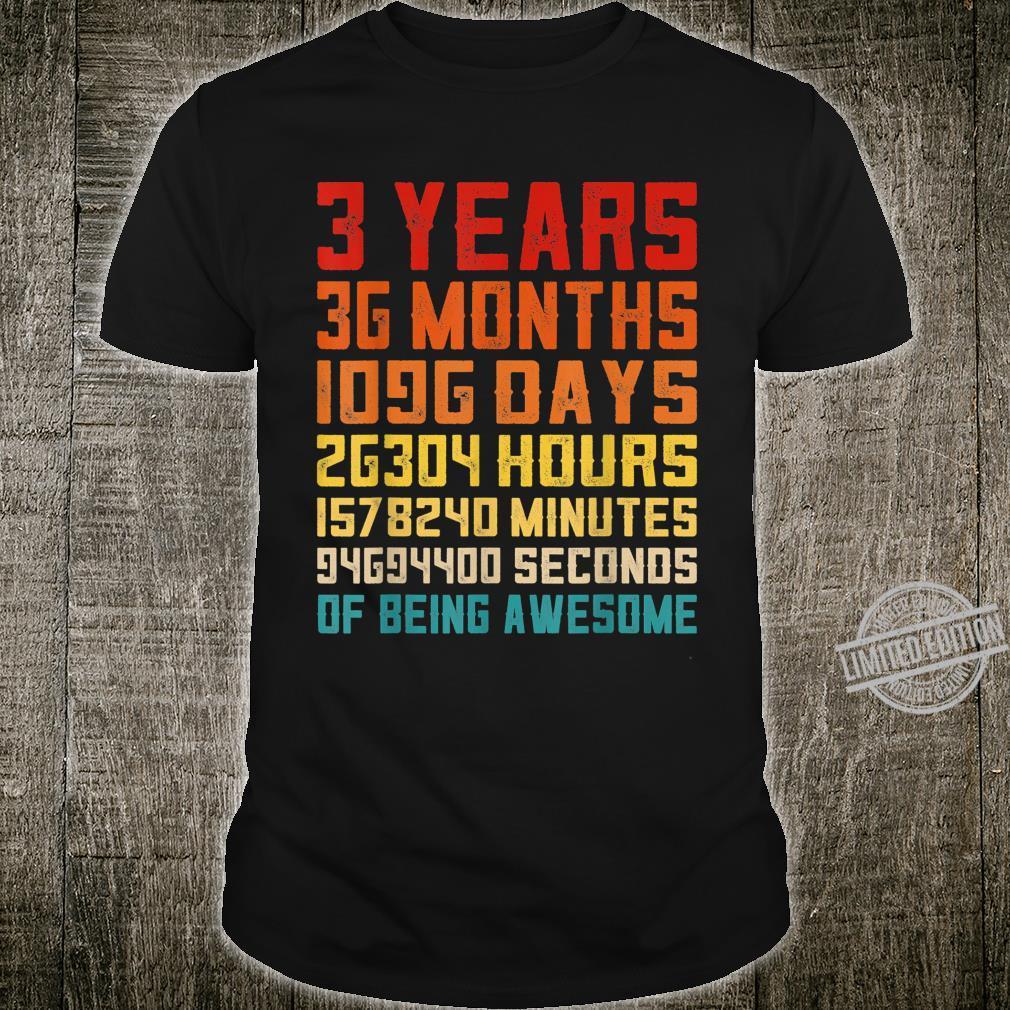 3rd Birthday Retro Vintage 3 Years Old 36 Months Shirt