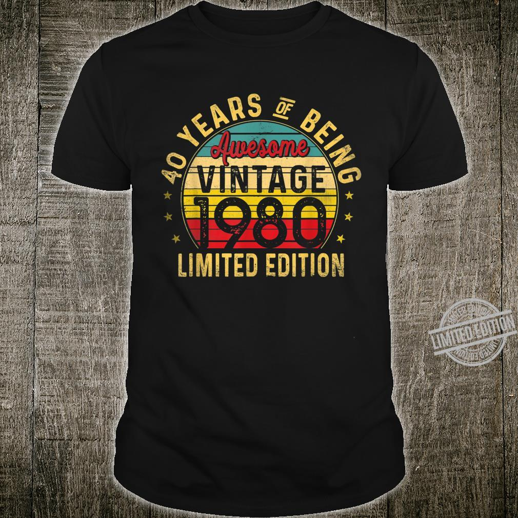 40 Year Old, Vintage 1980 Limited Edition 40th Birthday Shirt