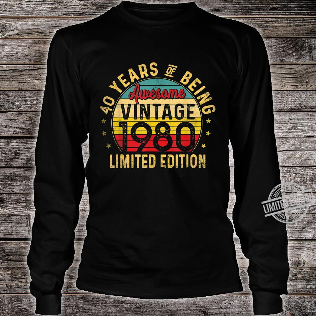 40 Year Old, Vintage 1980 Limited Edition 40th Birthday Shirt long sleeved