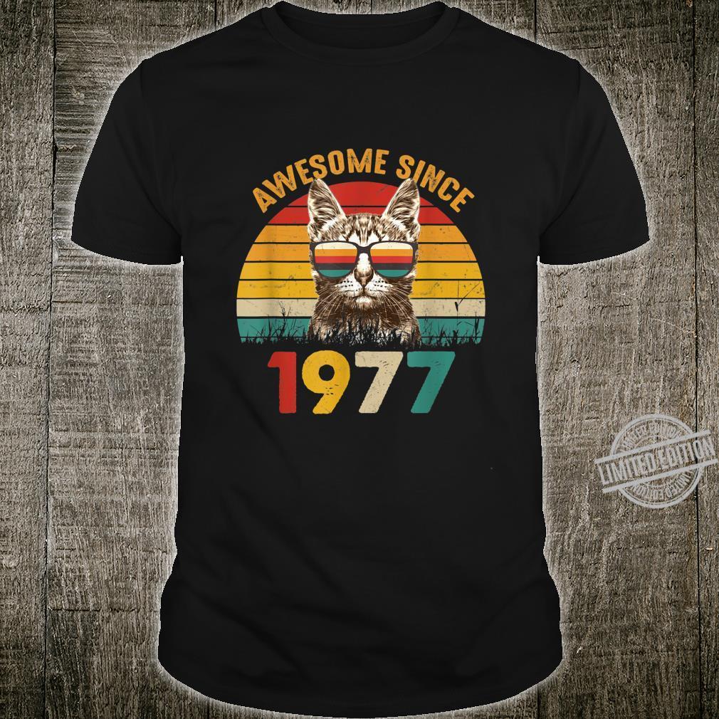 43. Geburtstag Vintage Cat Katze Awesome Since 1977 Geschenk Shirt
