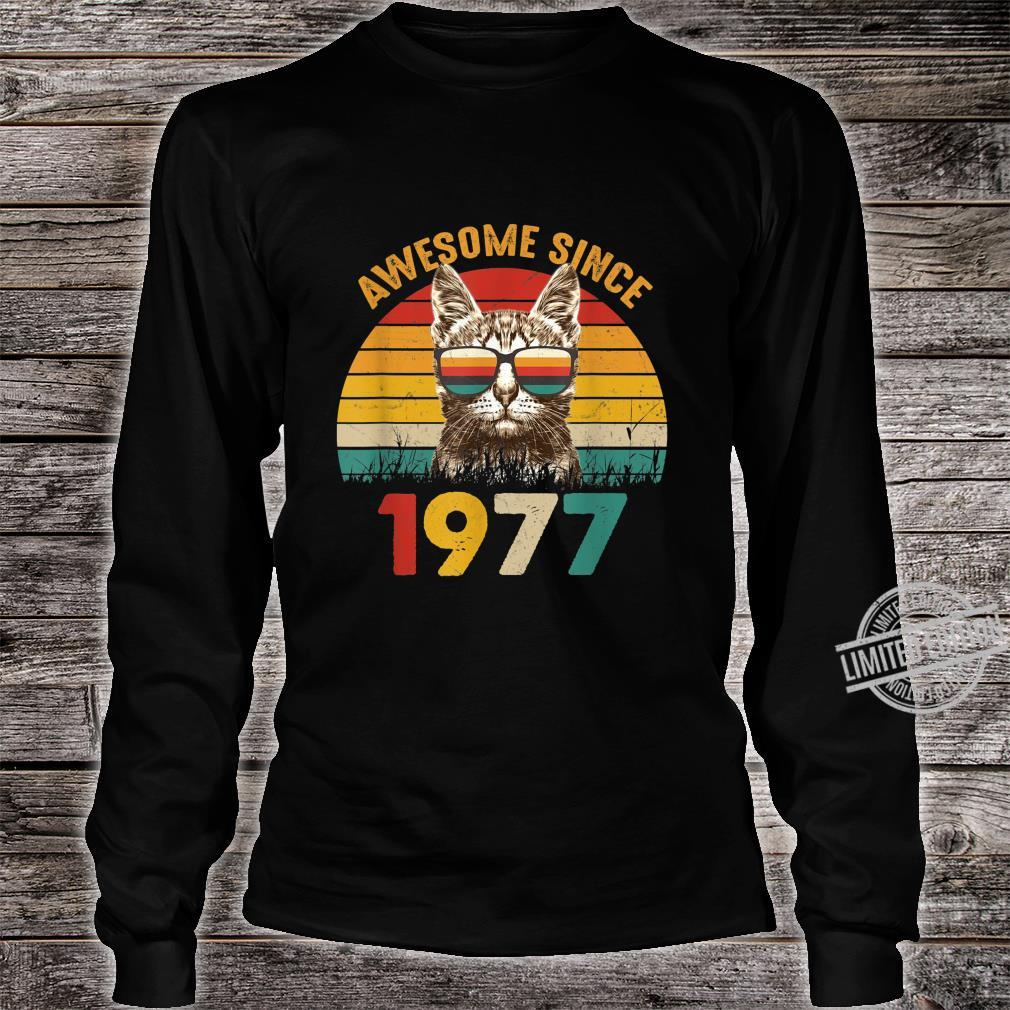 43. Geburtstag Vintage Cat Katze Awesome Since 1977 Geschenk Shirt long sleeved