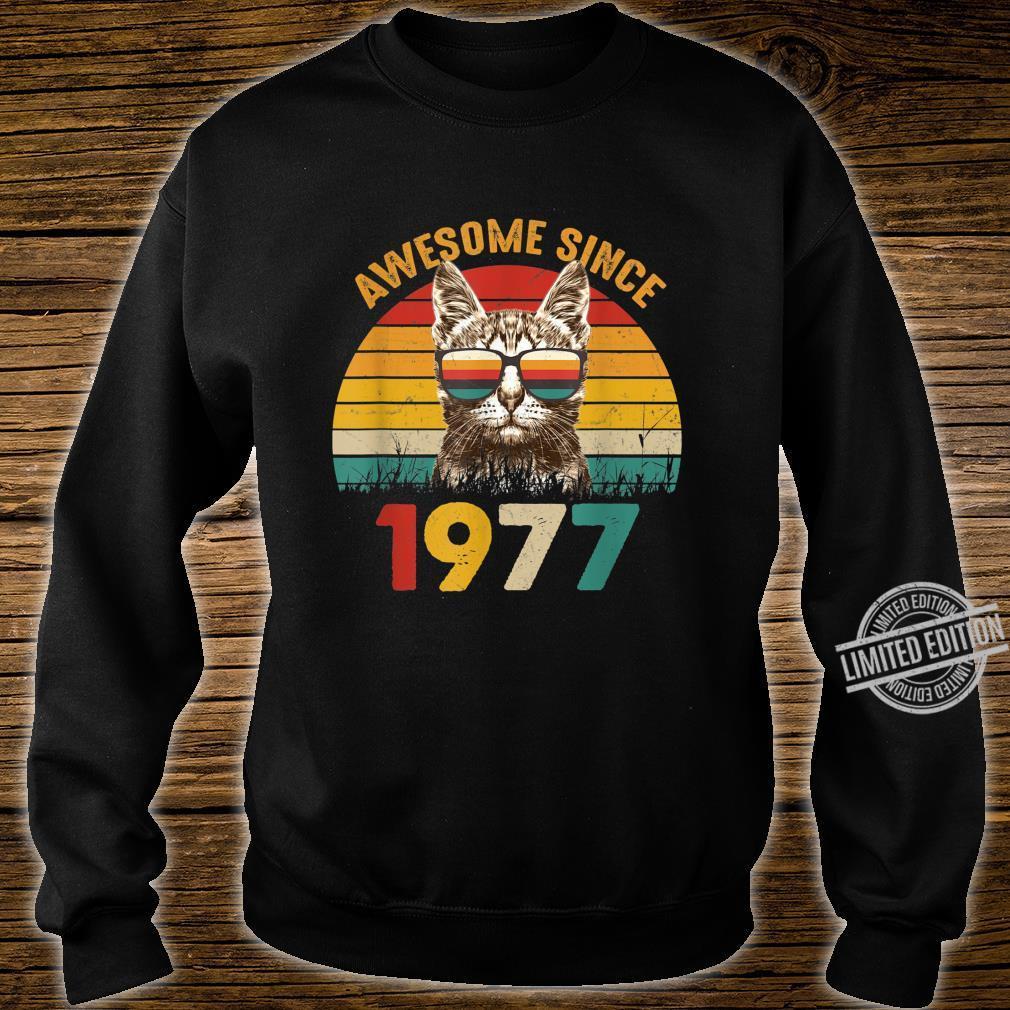 43. Geburtstag Vintage Cat Katze Awesome Since 1977 Geschenk Shirt sweater