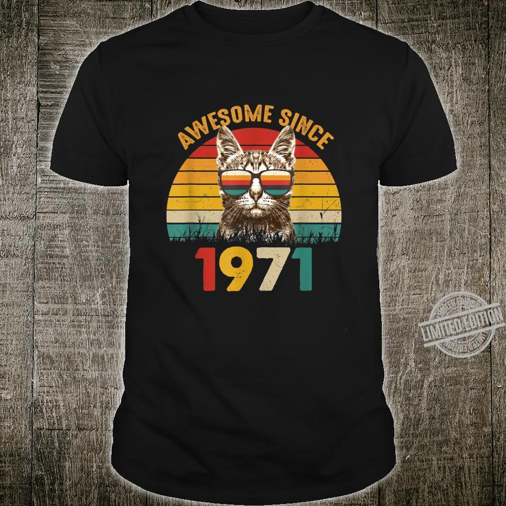 49. Geburtstag Vintage Cat Katze Awesome Since 1971 Geschenk Shirt