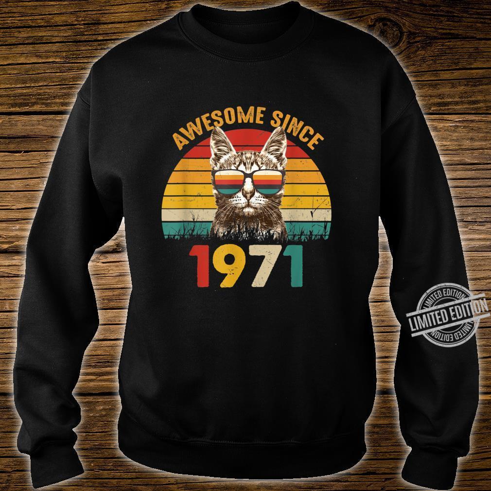 49. Geburtstag Vintage Cat Katze Awesome Since 1971 Geschenk Shirt sweater