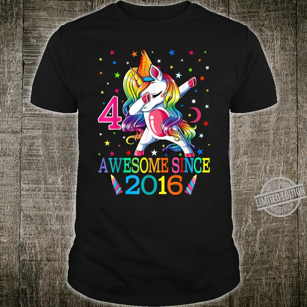 4th Birthday Dabbing Unicorn Party For 4 Years Old Girl Shirt