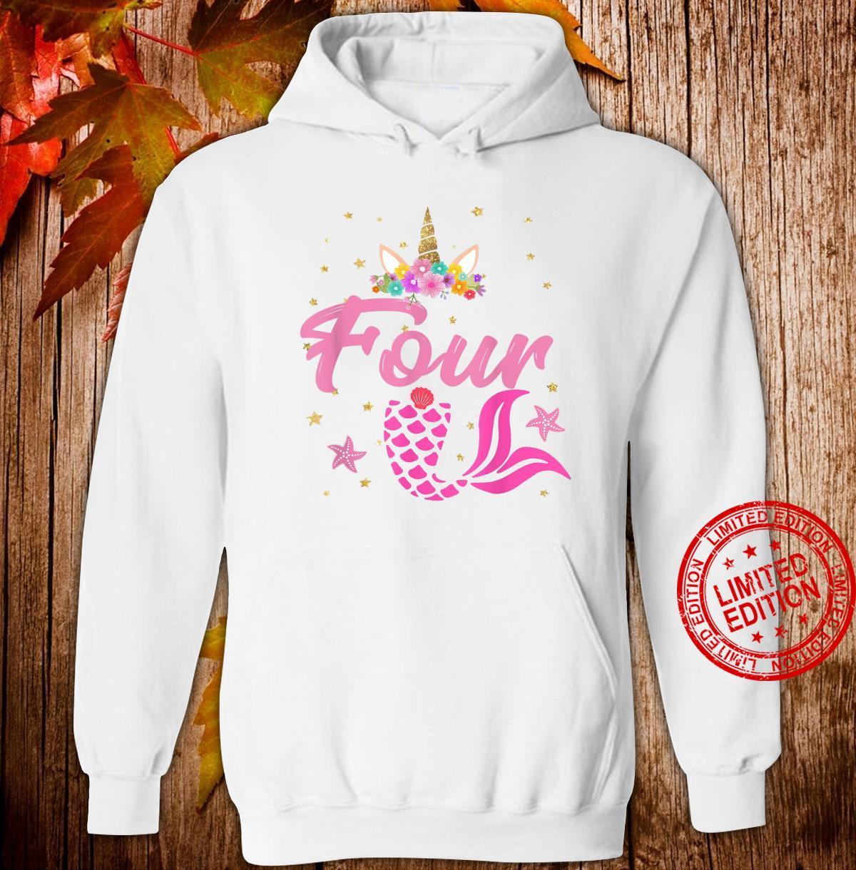 4th Birthday Girl Unicorn Shirt Mermaid Tail 4 Years Old Shirt hoodie