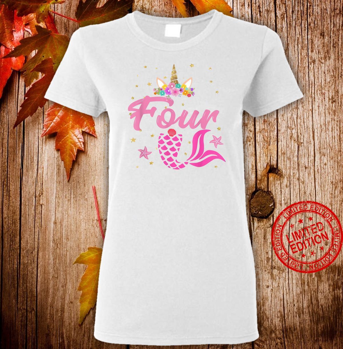 4th Birthday Girl Unicorn Shirt Mermaid Tail 4 Years Old Shirt ladies tee