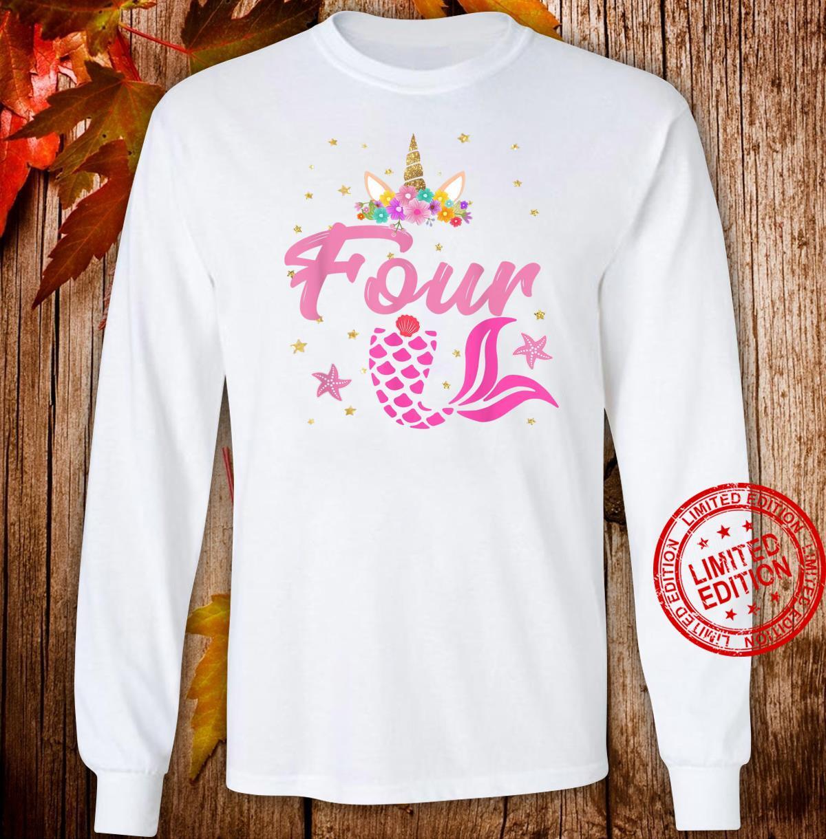 4th Birthday Girl Unicorn Shirt Mermaid Tail 4 Years Old Shirt long sleeved