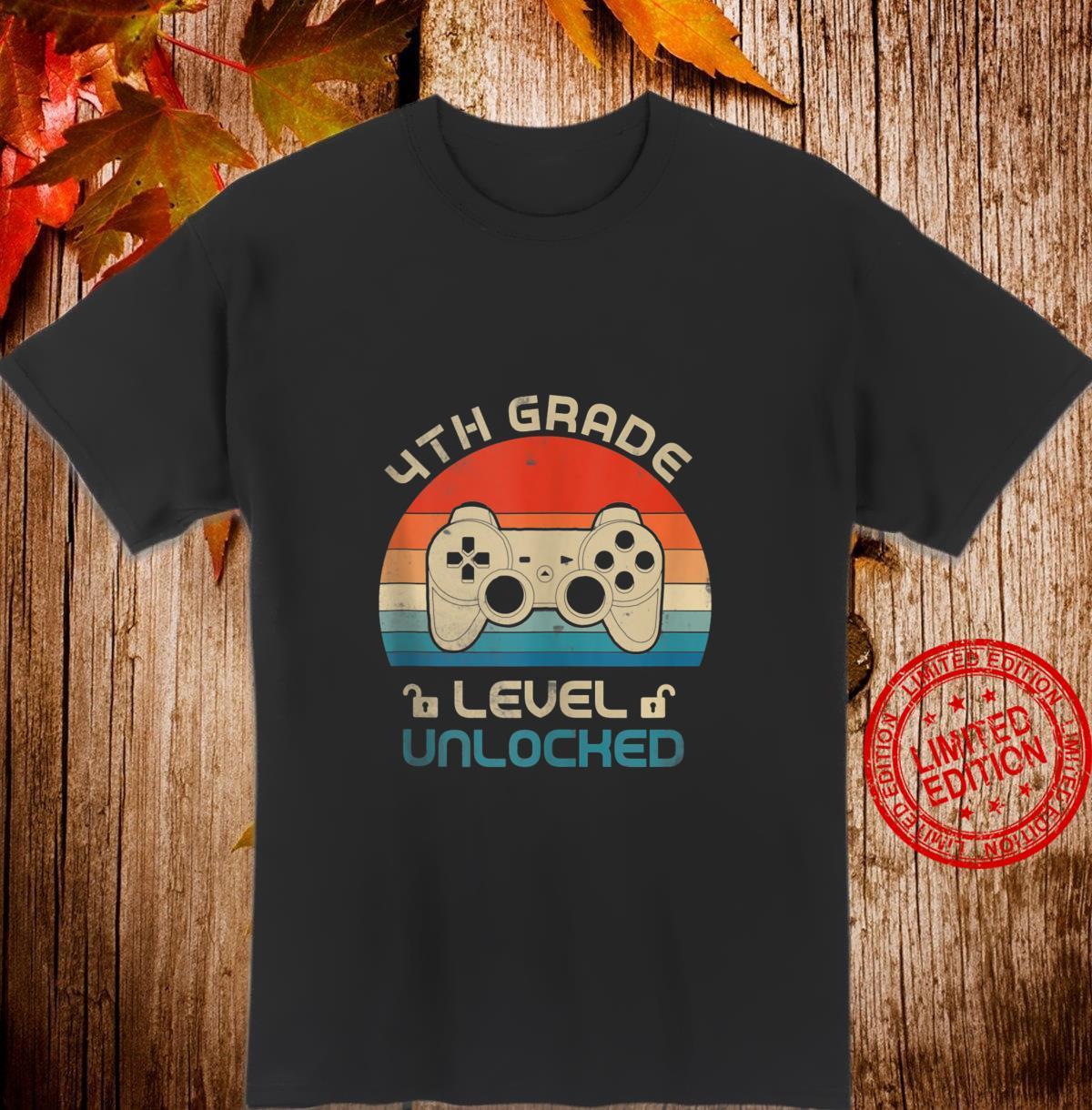 4th Grade Level Unlocked Video Gamer Back to School Boys Shirt