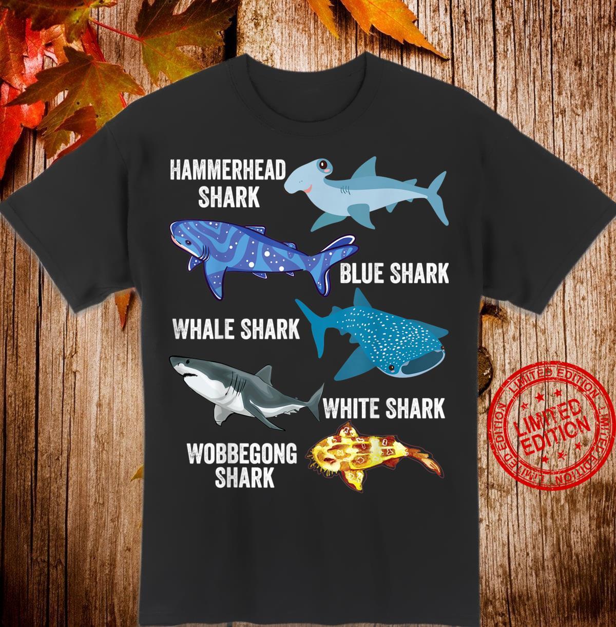 5 Types of Sharks Ocean Marine Biology Beach Educational Shirt